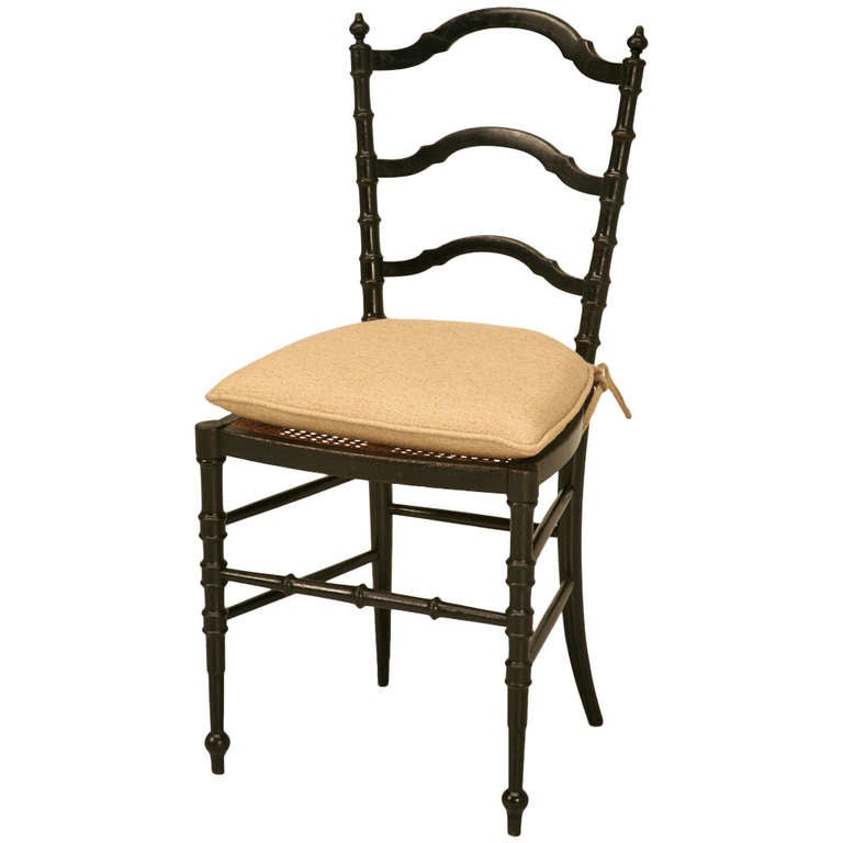 Original Antique French Napoleon III Ladderback Chair with New Linen Pad