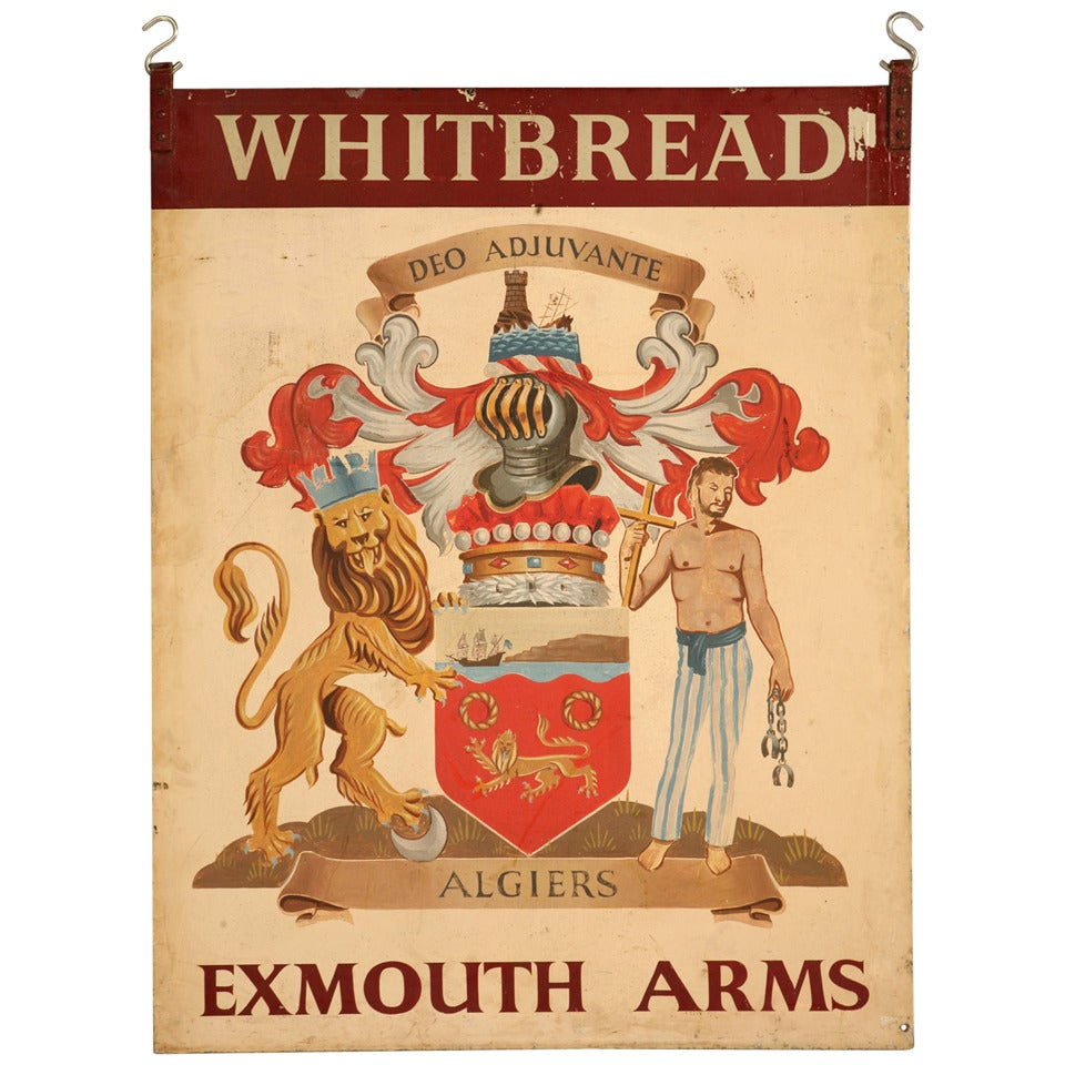 Vintage Exmouth Arms Original English Pub Sign