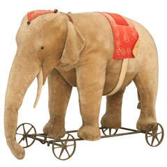 "Original Antique ""Steiff"" Mohair Elephant Pull Toy (early 20th Century)"