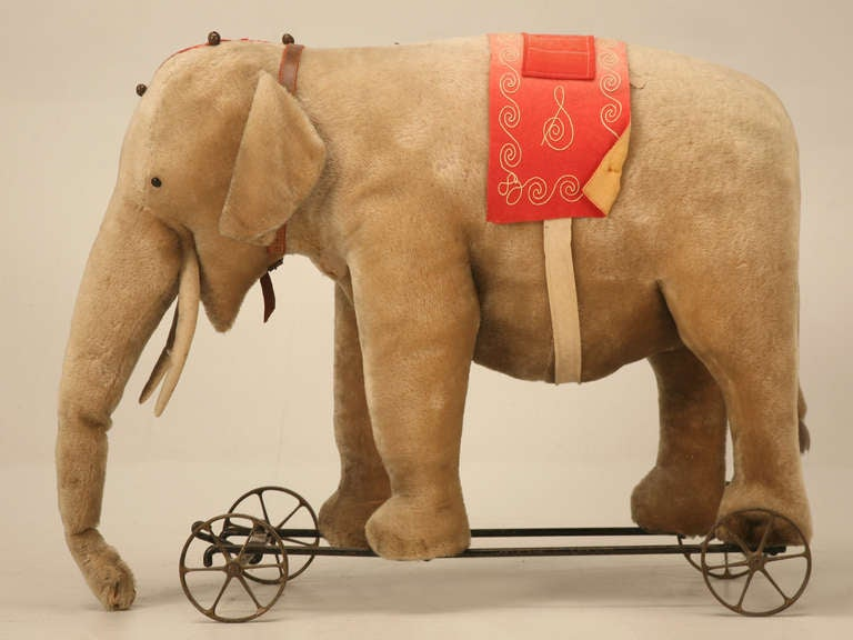 "Original Antique ""Steiff"" Mohair Elephant Pull Toy (early 20th Century) 2"