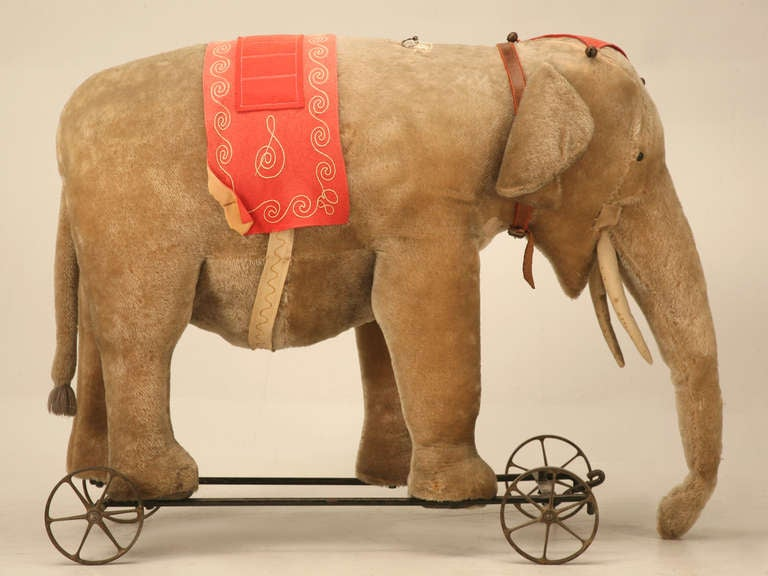 "Original Antique ""Steiff"" Mohair Elephant Pull Toy (early 20th Century) 4"