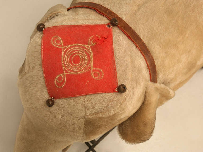 "Original Antique ""Steiff"" Mohair Elephant Pull Toy (early 20th Century) 6"