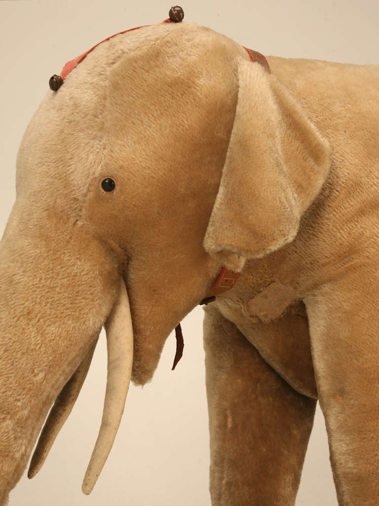 "Original Antique ""Steiff"" Mohair Elephant Pull Toy (early 20th Century) 7"