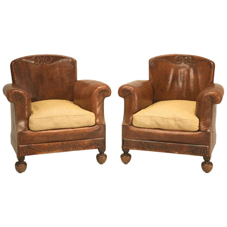 Petite Original 1920 39 S French Leather Club Chair Right Chair Available