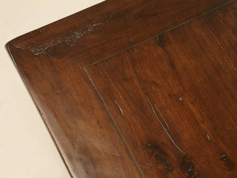 Unknown Hand Carved Organic Relief Antique French Solid Walnut Trestle Table