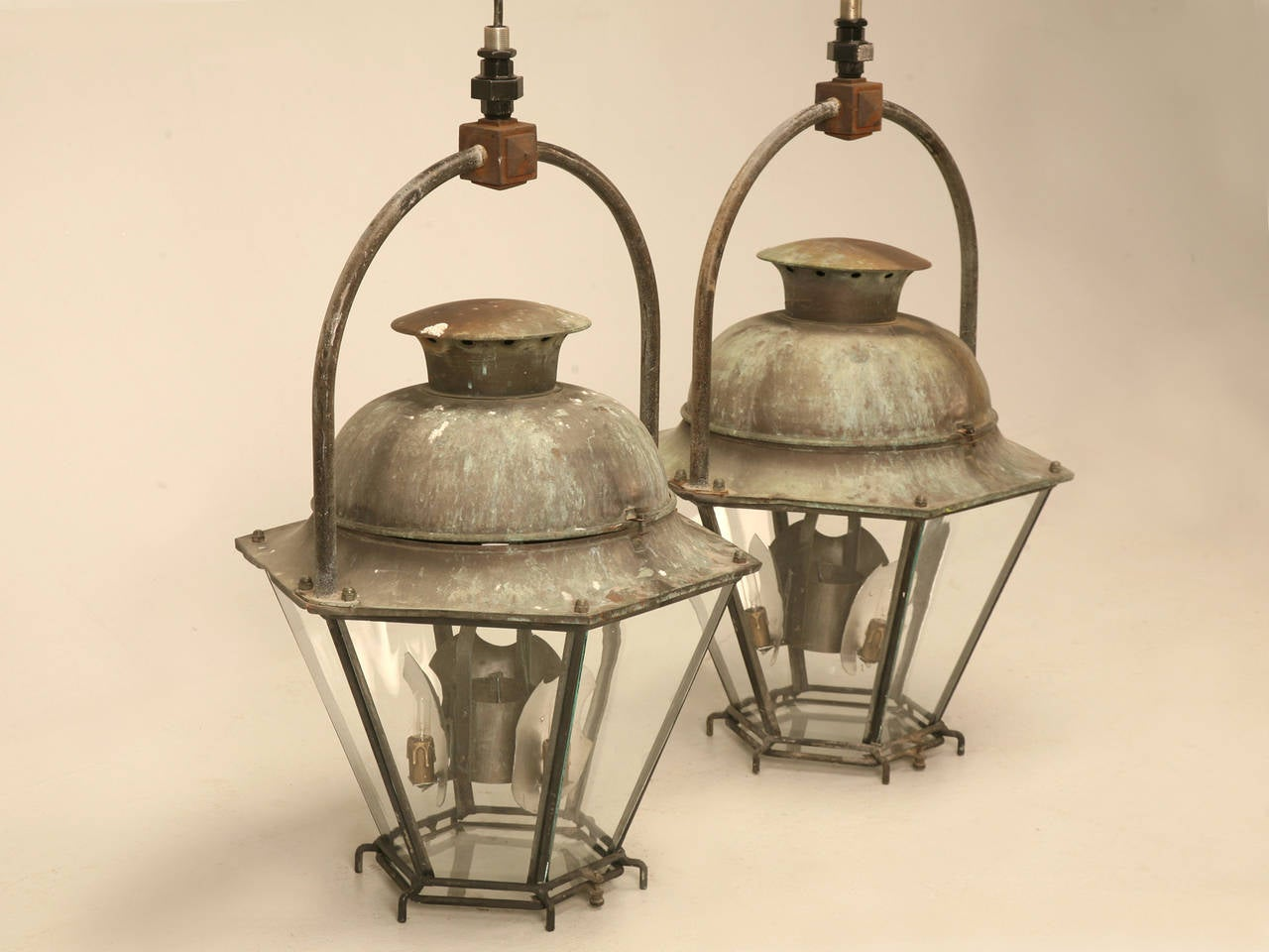 Pair Of Antique Copper French Lanterns In The 18th Century