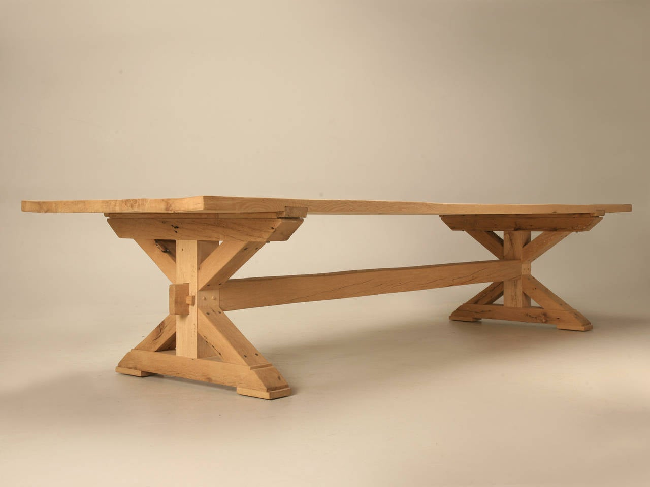 Contemporary Custom Made Farm Table in French White Oak For Sale