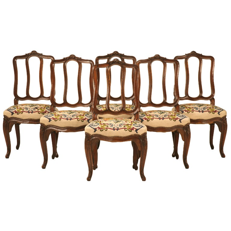 Antique Italian Oak Louis XV Dining Chairs w/Needlepoint For - Set Of 6 Orig. Antique Italian Oak Louis XV Dining Chairs W