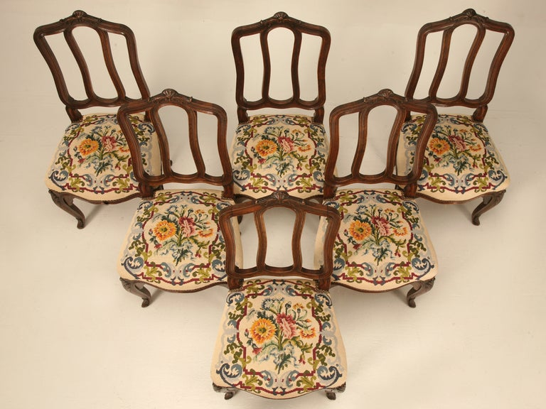 20th Century Set of 6 Original Antique Italian Oak Louis XV Dining Chairs with Needlepoint For Sale