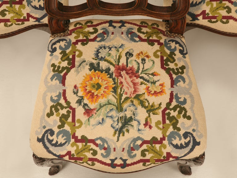 Set of 6 Original Antique Italian Oak Louis XV Dining Chairs with Needlepoint For Sale 1