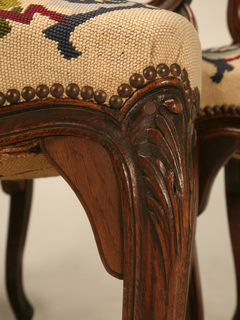 Set of 6 Original Antique Italian Oak Louis XV Dining Chairs with Needlepoint For Sale 2