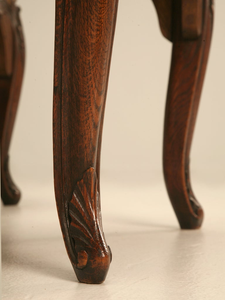 Set of 6 Original Antique Italian Oak Louis XV Dining Chairs with Needlepoint For Sale 3