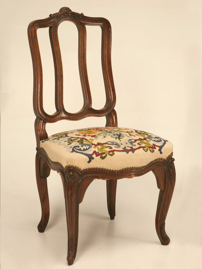Set of 6 Original Antique Italian Oak Louis XV Dining Chairs with Needlepoint For Sale 4