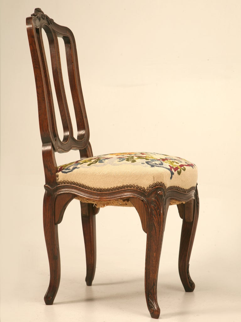 Set of 6 Original Antique Italian Oak Louis XV Dining Chairs with Needlepoint For Sale 5