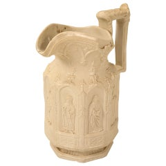 Circa 1842 English Staffordshire Apostle Jug with 8 Saints in Gothic Arches