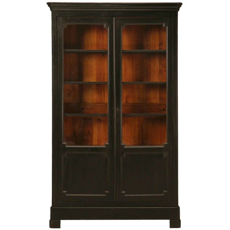 original black antique french henri ii bibliotheque. Black Bedroom Furniture Sets. Home Design Ideas