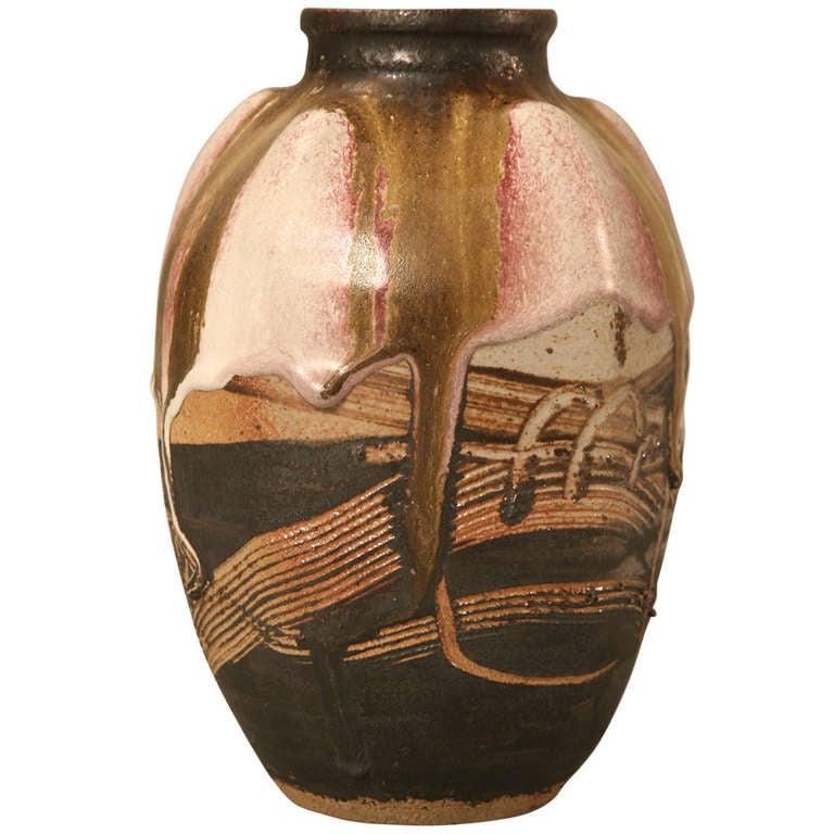 Signed Vintage French Ultra-Modern Pottery Studio Vase