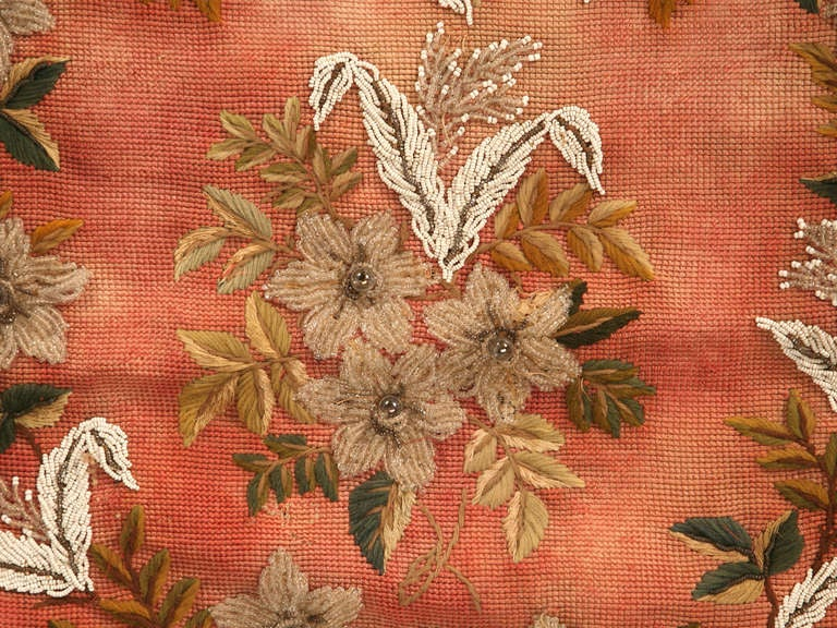 Original Antique Hand-Beaded Fireplace Screen In Good Condition For Sale In Chicago, IL
