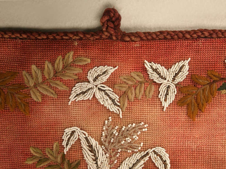 Beads Original Antique Hand-Beaded Fireplace Screen For Sale