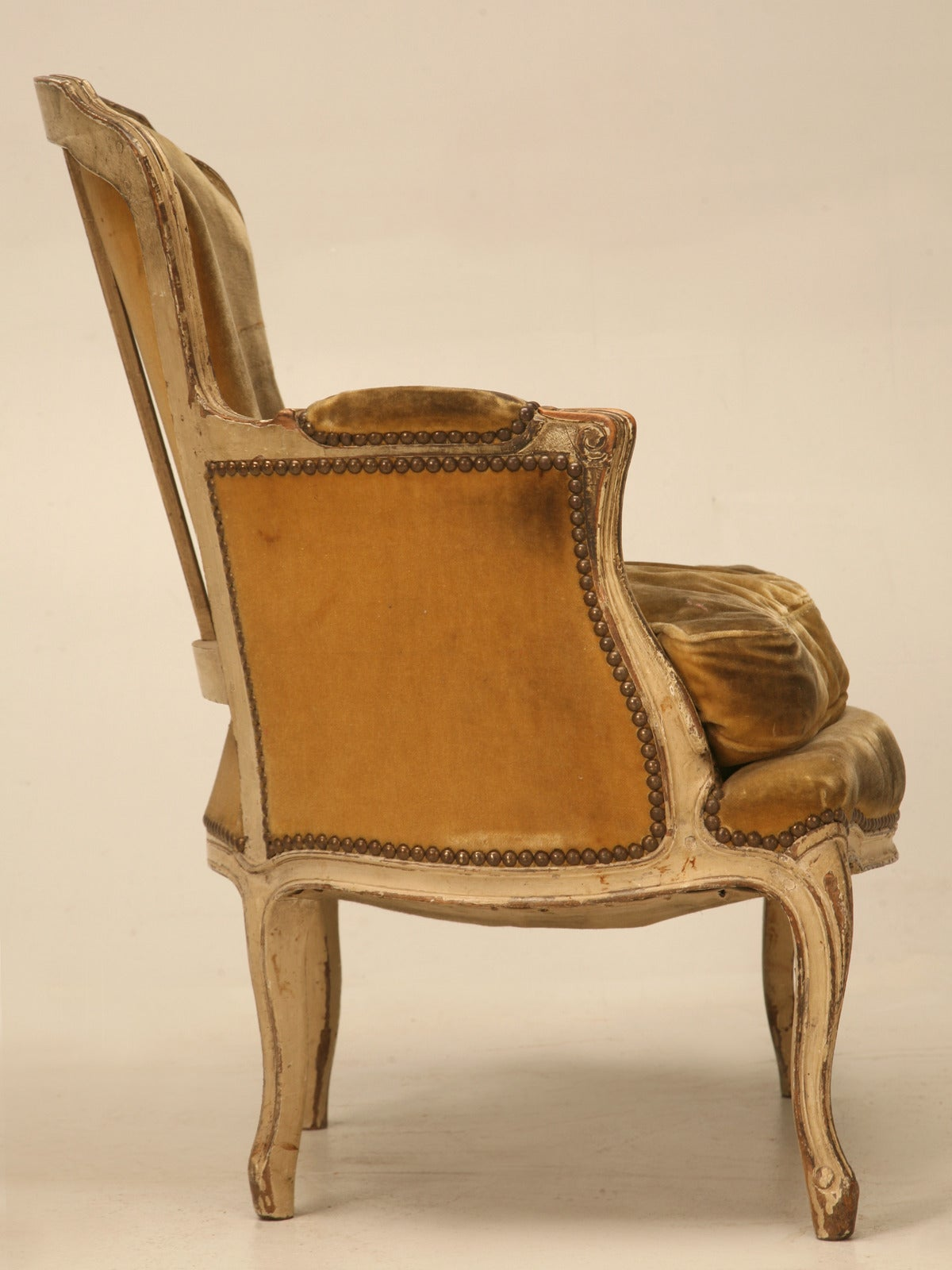 Antique French Louis XV Style Bergere Chair in Old Paint at 1stdibs
