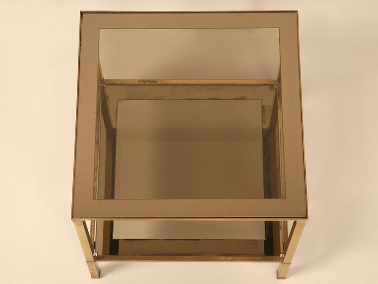 Vintage French Mid-Century Modern Design Two-Tier End/Side Table In Good Condition For Sale In Chicago, IL