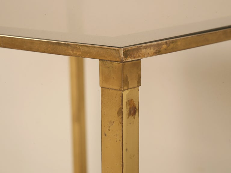 Brass Vintage French Mid-Century Modern Design Two-Tier End/Side Table For Sale
