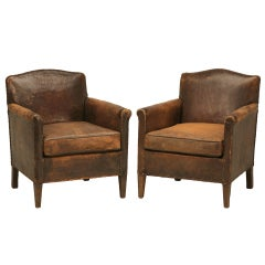 Distinguished Pair of 1920's French Original Leather Club Chairs