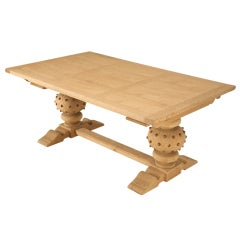 Unusual & Rare Studded Vintage French Solid White Oak Trestle Table with Leaves