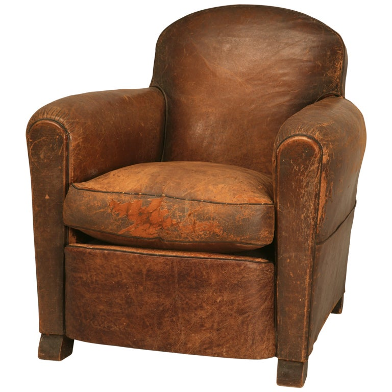 French original leather club chair w new undercarriage at 1stdibs