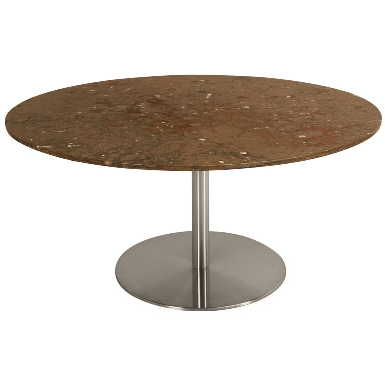 Vintage American Modern Fossil Stone And Stainless Steel Dining Table At 1stdibs