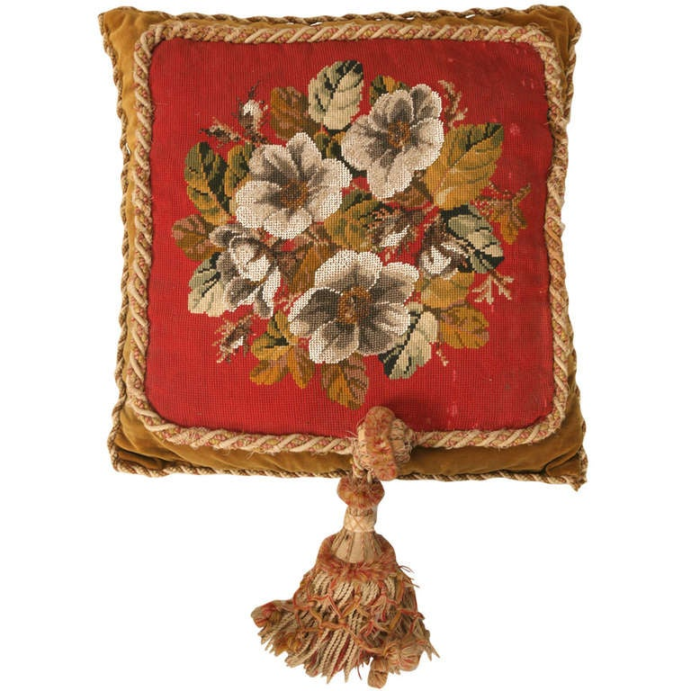 Victorian Tapestry Pillows : Circa 1900 Victorian English Beaded and Needlepoint Pillow at 1stdibs