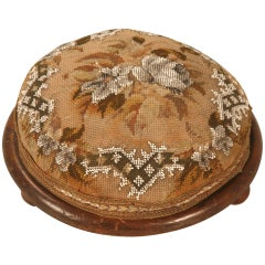 Antique English Ladies Hand Beaded Tuffet or Footstool