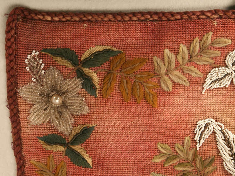 19th Century Original Antique Hand-Beaded Fireplace Screen For Sale