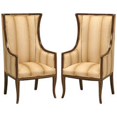 Pair of Extremely Rare Austrian Mahogany Bergere Chairs with Brass Inlay