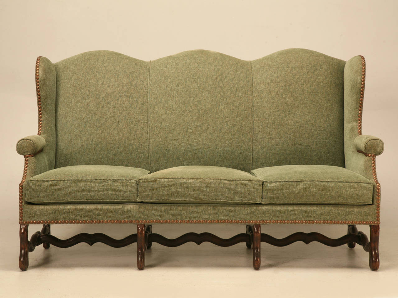 Vintage French Os De Mouton Style Small Sofa or Settee In Fair Condition For Sale In Chicago, IL