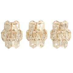 """Outstanding Set of 3 Matching Vintage """"Kalmar"""" Austrian Crystal Wall Sconces"""