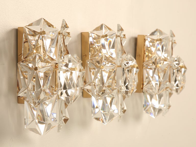 Vintage Crystal Wall Sconces : Outstanding Set of 3 Matching Vintage