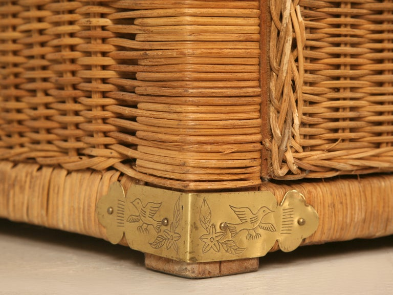 Vintage Rattan And Brass Tommy Bahama Campaign Style Chest