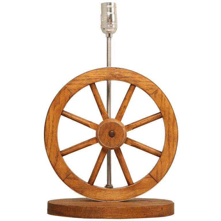 Original Vintage A. Brandt Ranch Oak Wagon Wheel Western-Cowboy Table Lamp at 1stdibs
