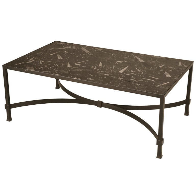Awesome Vintage Steel Tail Table W 40 Million Year Old Fossil Stone Top For