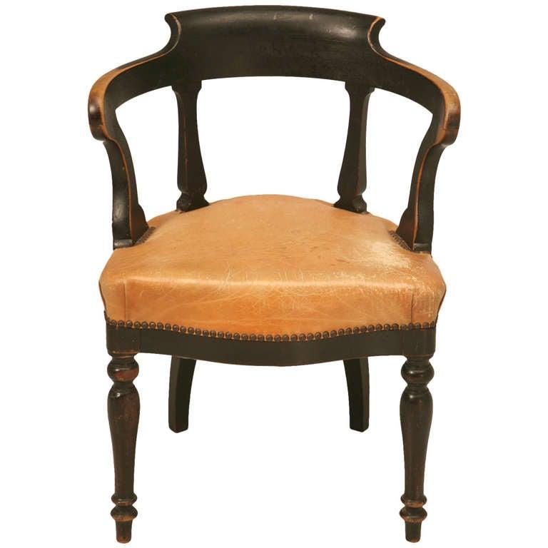 C 1870 Antique French Napoleon Iii Barrel Back Desk Chair