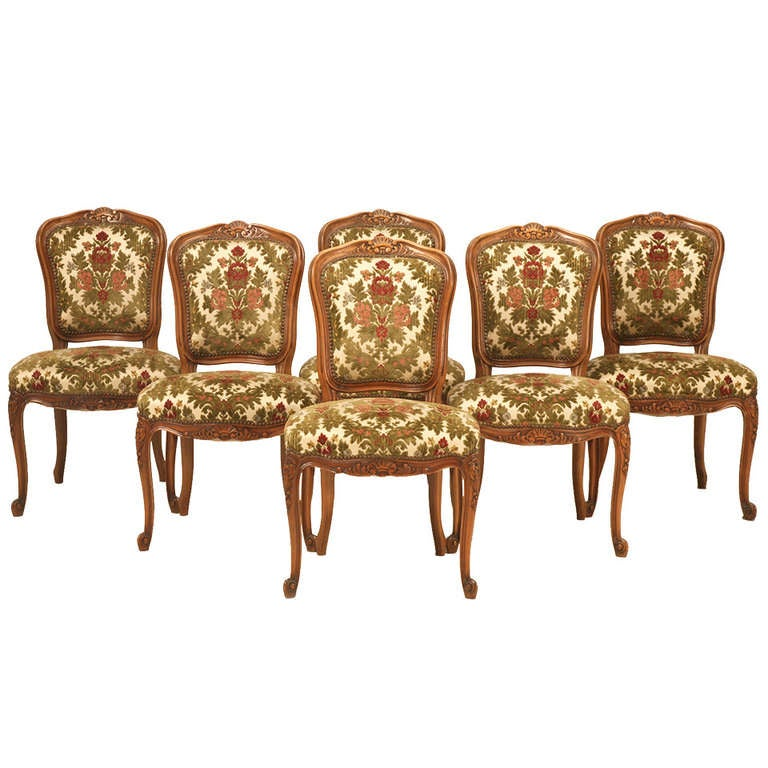 French Louis XV Cherry Dining Chairs c1940 s For Sale at
