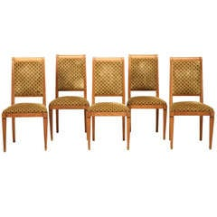 Vintage Set of 4+1 French Directoire Style Fruitwood Dining Chairs