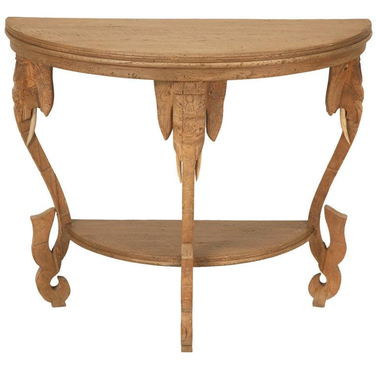 "Original Antique French White Oak ""Elephant Safari"" Demi-Lune Table"