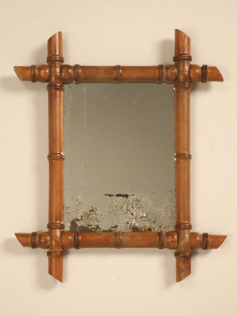 Petite Antique Continental Mirror In Faux Bamboo Frame At