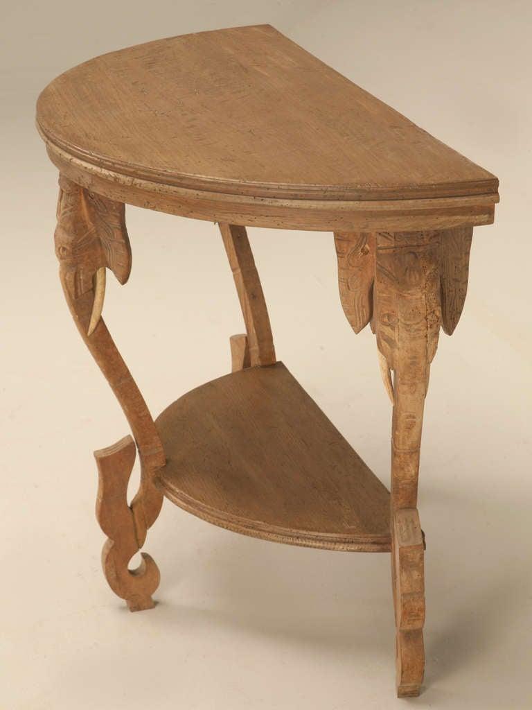 Original Antique French White Oak Elephant Safari Demi Lune Table At 1stdibs
