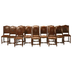 Set of 12 Henri II Original Leather Dining Chairs