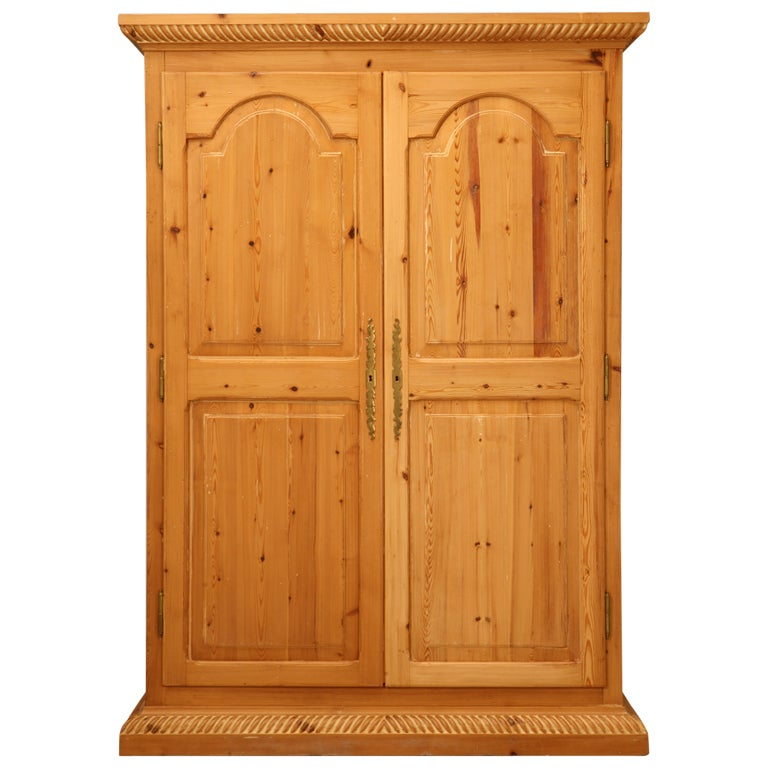 rustic vintage solid pine armoire or cupboard w raised. Black Bedroom Furniture Sets. Home Design Ideas