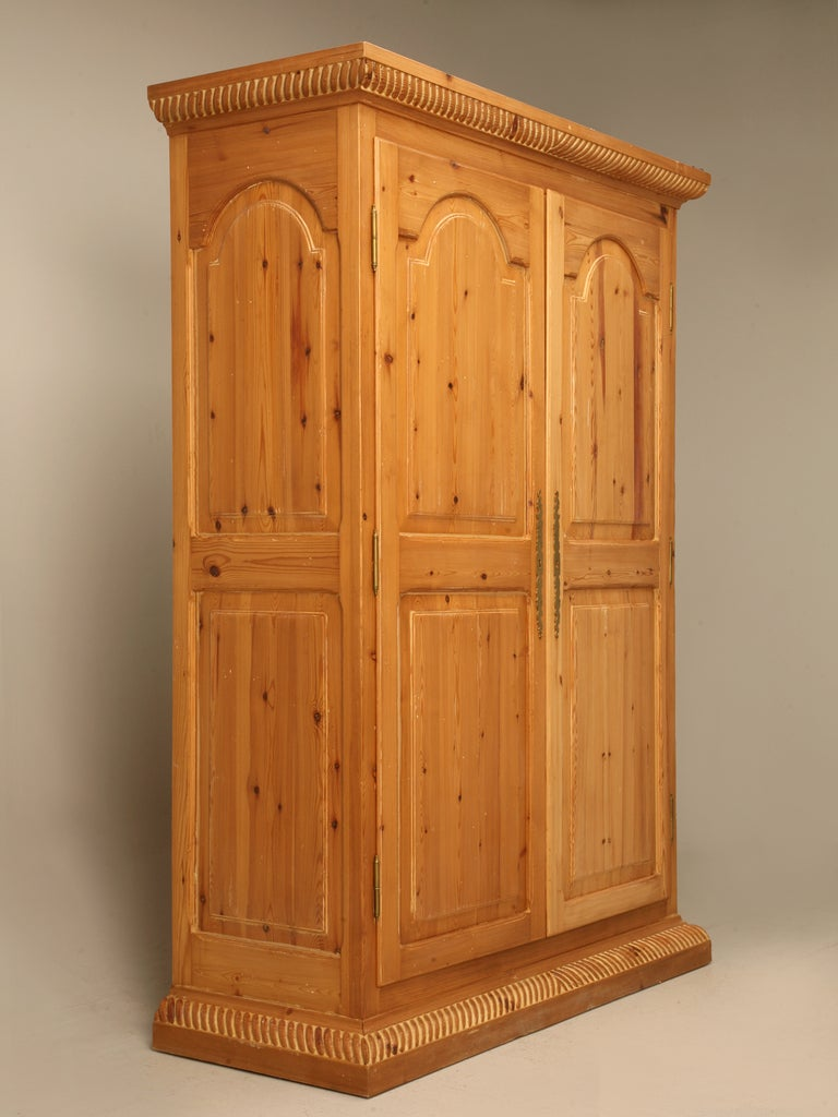 Kitchen Cupboard Doors >> Rustic Vintage Solid Pine Armoire or Cupboard w/Raised Panels and Rope Edge at 1stdibs