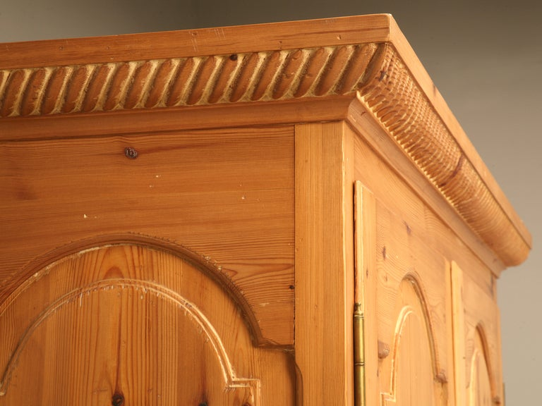 American Rustic Vintage Solid Pine Armoire Or Cupboard W/Raised Panels U0026  Rope Edge For
